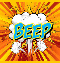 Word beep on comic cloud explosion background vector