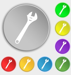 wrench icon sign Symbol on five flat buttons vector image