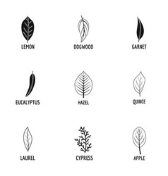 Xanthium icons set simple style vector