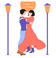 Young couple is dancing in a dance vector