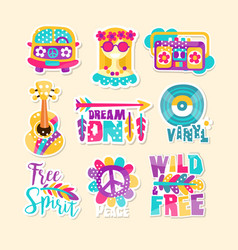 bright hippy-themed vector image
