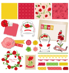 Design Elements - Poppy Flowers Theme vector image vector image
