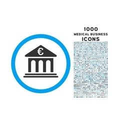 Euro Bank Rounded Icon with 1000 Bonus Icons vector image vector image