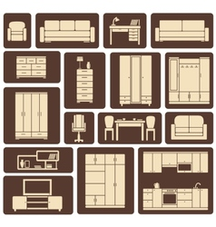 Furniture flat design icons set vector image vector image
