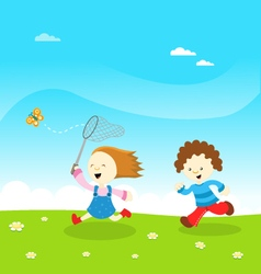 Kids Catching Butterfly vector image vector image