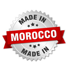 Made in morocco silver badge with red ribbon vector