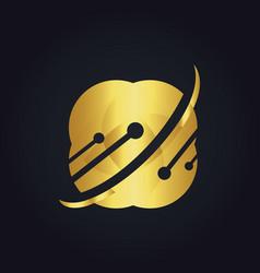 Technology data science gold logo vector