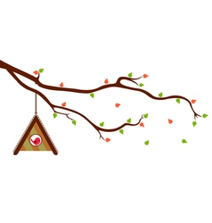 Tree Branch with Bird House and green leaves vector image