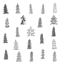Doodle Christmas Tree Set on white Background vector image vector image