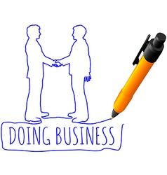 Drawing business people handshake deal vector image