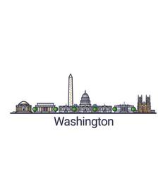 flat line washington banner vector image