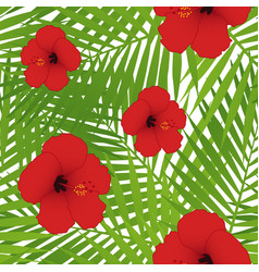 red hibiscus and palm leaves seamless pattern vector image vector image