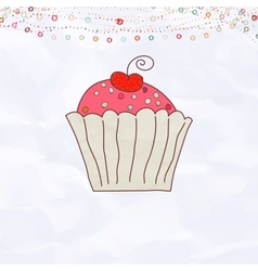 Retro Cupcake Valentines vector image vector image