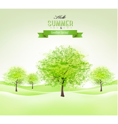 Summer background with green trees vector