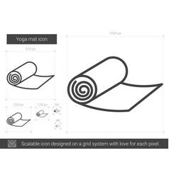 Yoga mat line icon vector