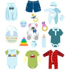 Baby boy elements clothes vector