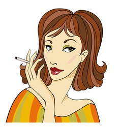 DarkhairedWomanWithCigarette vector image vector image