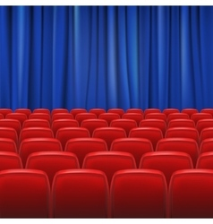 Red seats in hall with curtain vector