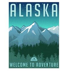 Retro style travel poster Alaska vector image