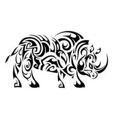rhino ethnic tattoo vector image vector image