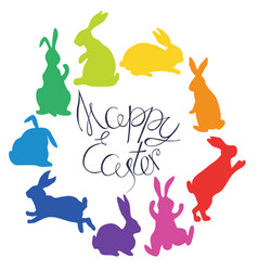 bunnies silhouettes in rainbow colors arranged in vector image vector image