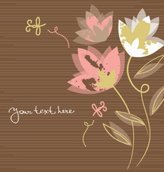 floral background with cartoon dragonflies vector image vector image