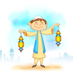 Kid with Eid lantern vector image vector image