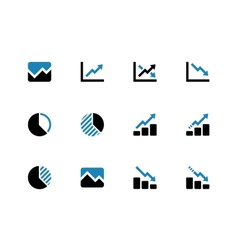 Line chart and Diagram duotone icons vector image