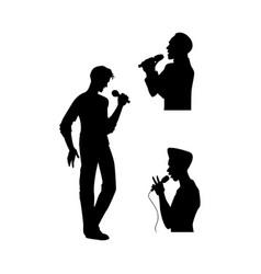 man singing silhouette set vector image