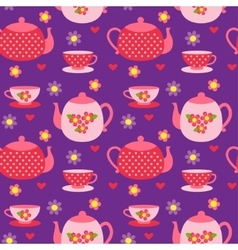 pattern of teapots and cups vector image vector image