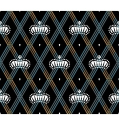 Seamless pattern with white king crowns on a dark vector image