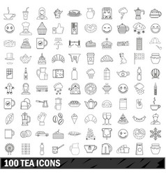 100 tea icons set outline style vector image