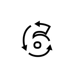 6 six number recycle logo icon vector image