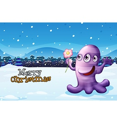 A merry christmas template with a purple monster vector