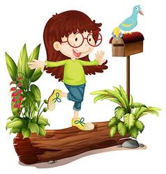 A nerd girl and a bird vector