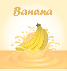 A splash of juice from a falling banana and drops vector