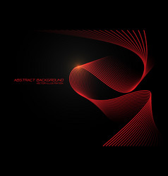 abstract red wave curve 3d light on black design vector image