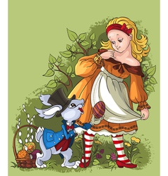 alice and the white rabbit easter card vector image