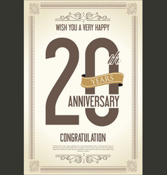 Anniversary retro vintage background 20 years vector