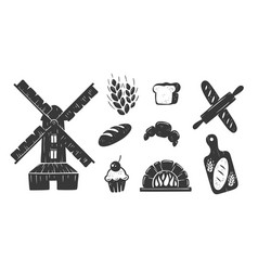 bakery icons collection vector image