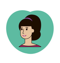 beauty girl face avatar with pony tail vector image