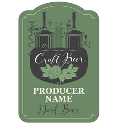 Beer label with hops and brewery production line vector