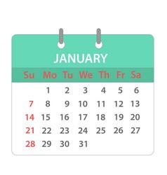 Block calendar on january 2018 on white stock vector