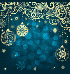 blue christmas frame with vintage gold tree balls vector image