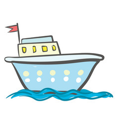 blue ship with windows or color vector image