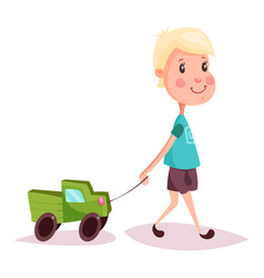 boy or child kid or guy with toy truck or lorry vector image