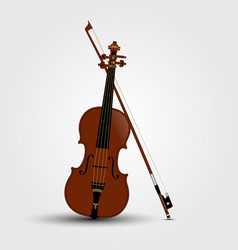brown violin and bow with shadow vector image