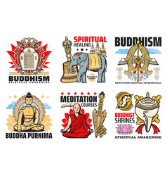 buddhism religion icons and symbols vector image