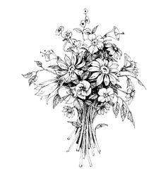 bunch flowers bridal bouquet sketch vector image