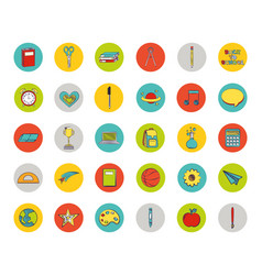 Bundle set colorful back to school icons vector